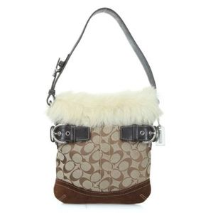 Coach Limited Edition Fur Trimmed Suede Bag